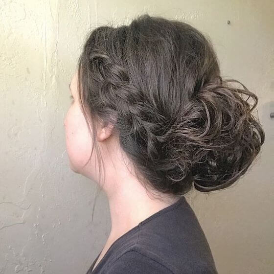Low Hair Bun With Simple Braids