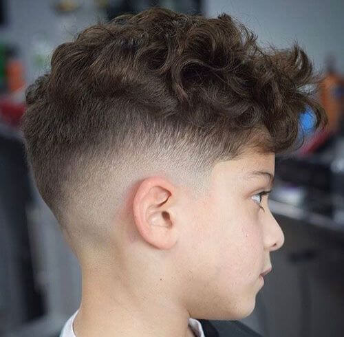 Messy Curls With A Mid Fade