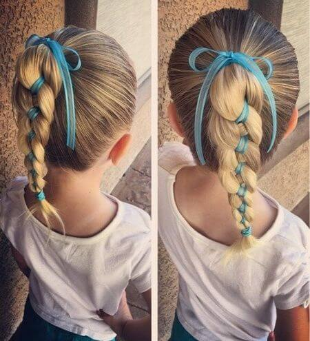 Beautiful Braided Hairstyle With Nice Christmas Ribbons