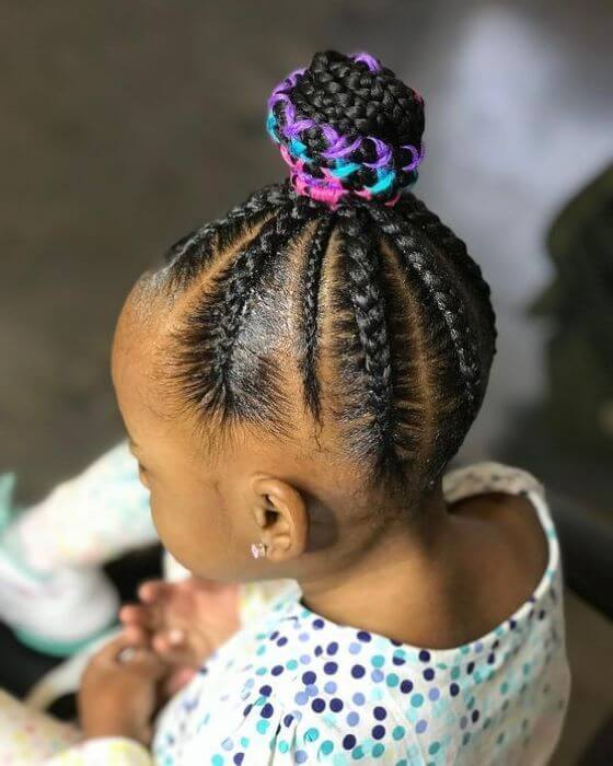 Cornrowed Bun or Threaded Shuku